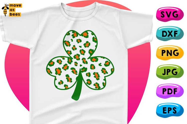 Funny Clover Svg Leopard Print in Irish Flag Colors Shamrock example image 1