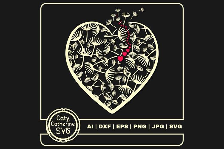 Dandelion Wish Love Heart Graphic SVG Cut File example image 1