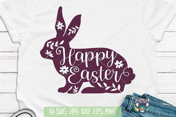 Happy Easter svg, Easter Bunny svg, Rabbit, Floral Easter