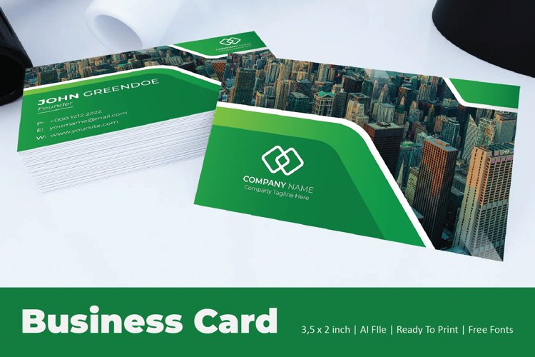 Green Straight Business Card Template