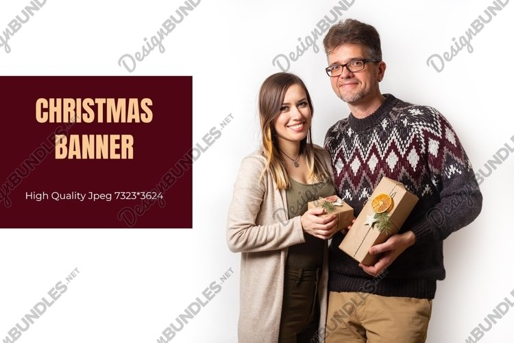 Christmas banner with a couple with eco friendly gifts example image 1