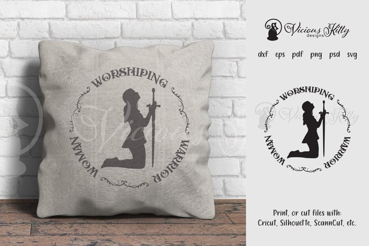 Worshiping Warrior Woman, Christian woman praying silhouette example image 1