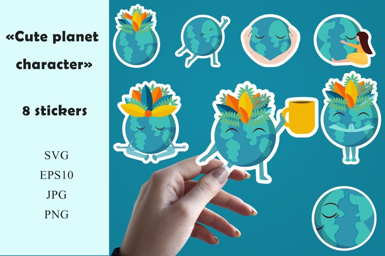 Stickers cute Planet character. example image 1