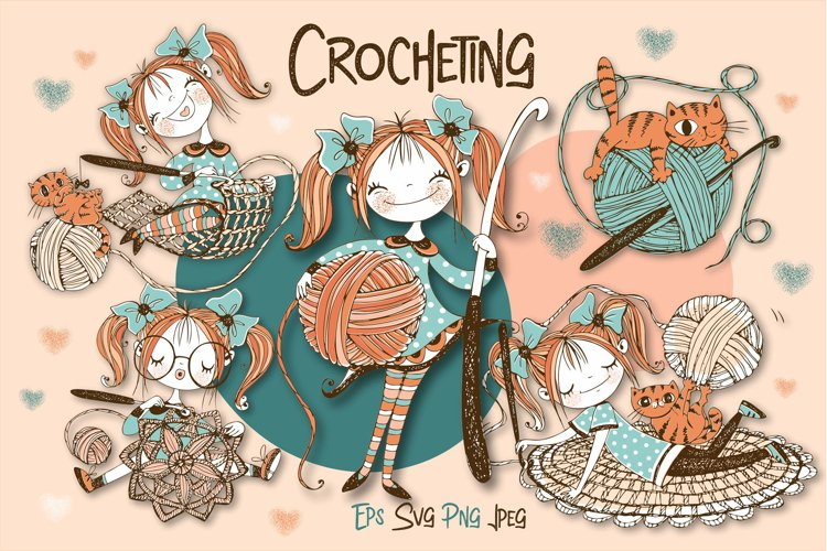 Crochet. Digital cliparts for knitting Svg Png. Girls knits. example image 1