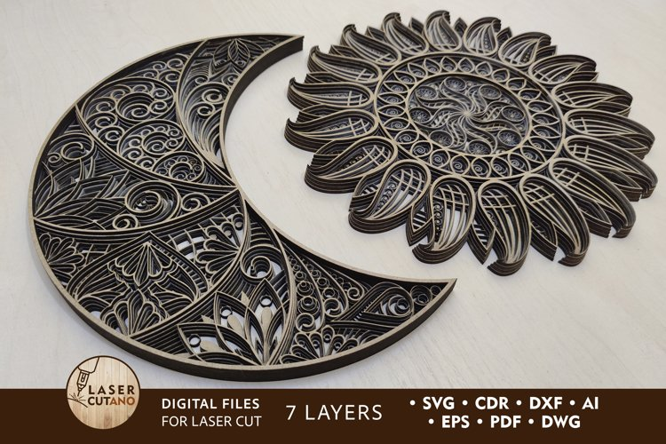 Multilayer Laser Cut Files The Sun and The Moon - Design
