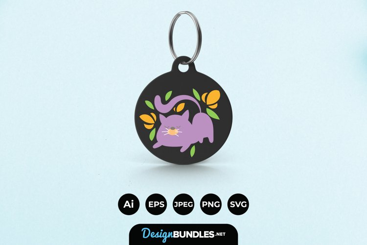 Cat and Flowers Keychain example image 1