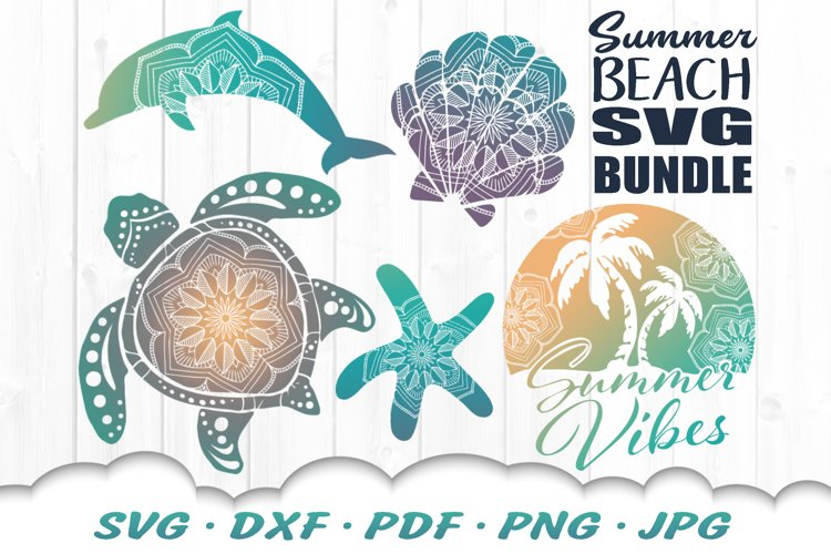 Summer Beach Vibes Mandala SVG DXF Cut Files Bundle