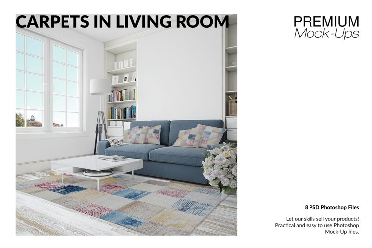 4 Types of Carpets & Pillows in Living Room Mockup Set example image 1