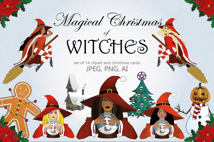 Christmas of Witches - Clipart and Christmas Card Collection example image 1