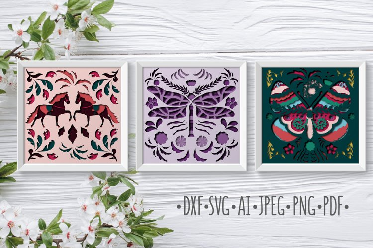Bundle Papercut 3D Dragonfly Butterfly and Horses example image 1