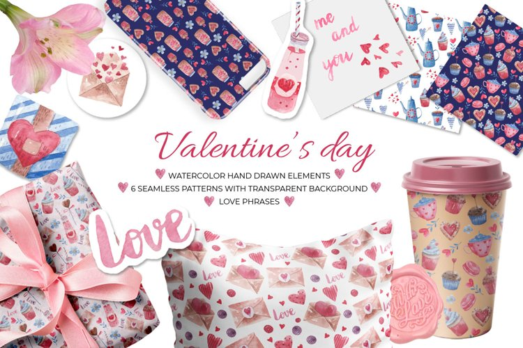 Watercolor Valentines Day clipart and patterns