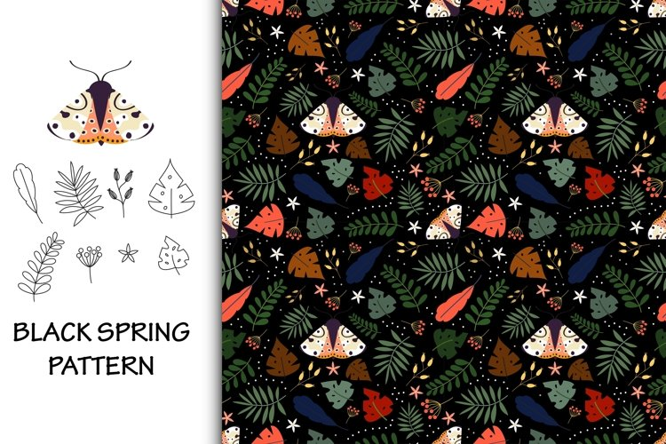 Seamless pattern black spring with moth example image 1