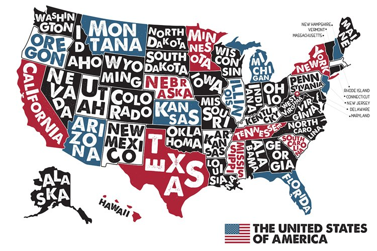 Poster map of USA example image 1