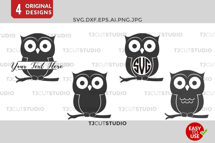 Owl SVG, Owl Monogram , Owls Monogram, Monogram Owl, Svg Files for Silhouette Cameo or Cricut Commercial   Personal Use