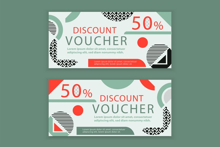 Vector white voucher. Memphis absract background example image 1