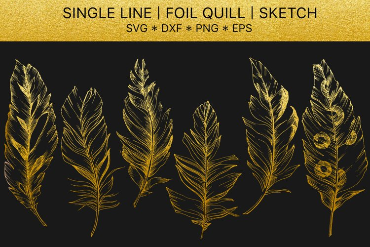 Foil quill svg Feathers golden monogram