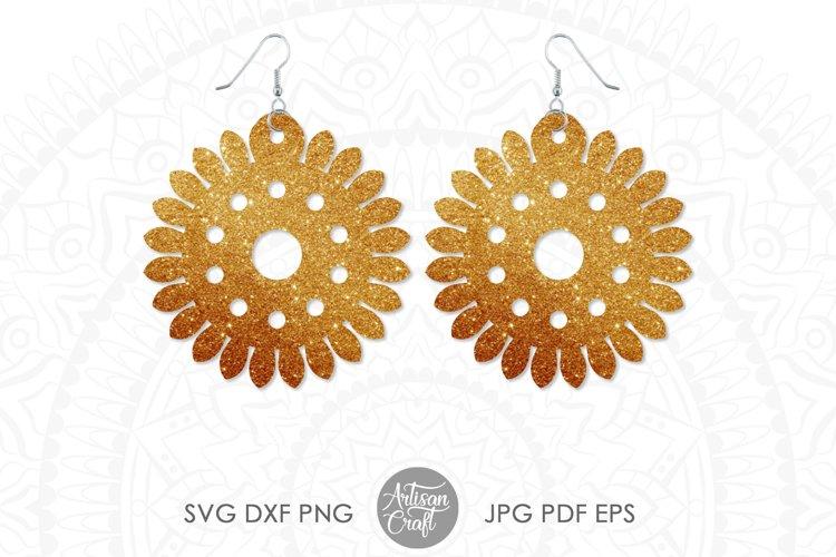 Earring template SVG, sunflower SVG, earrings SVG example 5