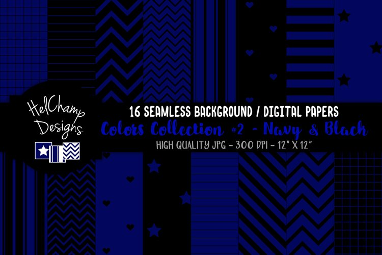 16 seamless Digital Papers - Navy and Black - HC134