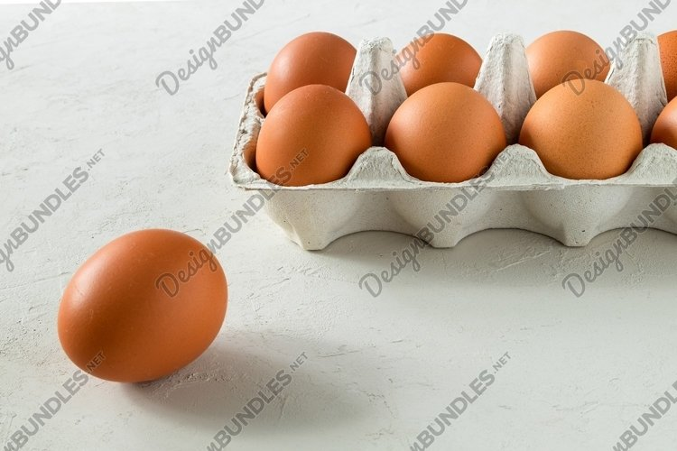 Close-up of chicken eggs in an eco-friendly carton for eggs example image 1