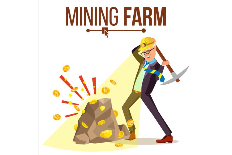 Mining Farm Vector. Businessman Miner. Digital Coin.