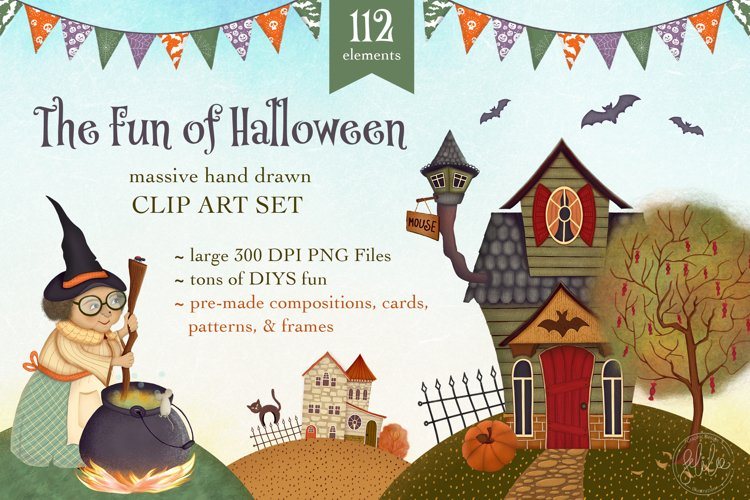 The Fun of Halloween Scene Creator Set - 112 Elements example image 1