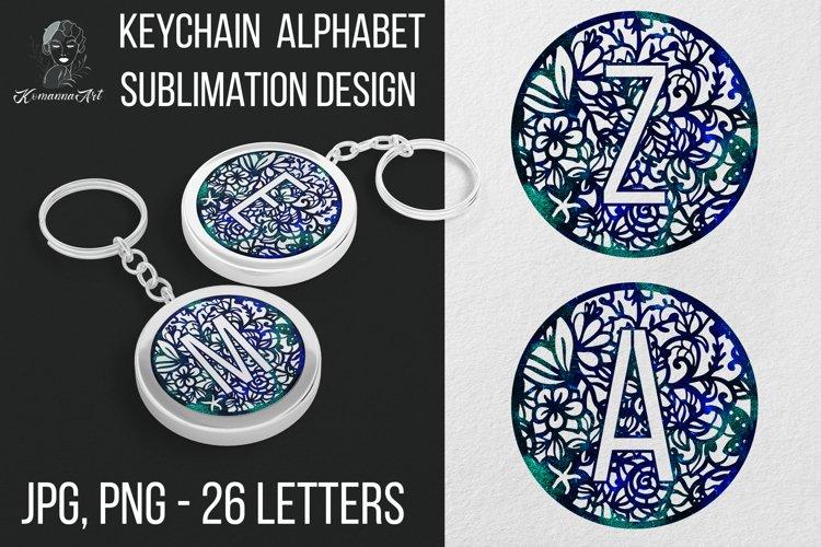 Keychain Alphaber Sublimation Design, Keychain Circle Bundle