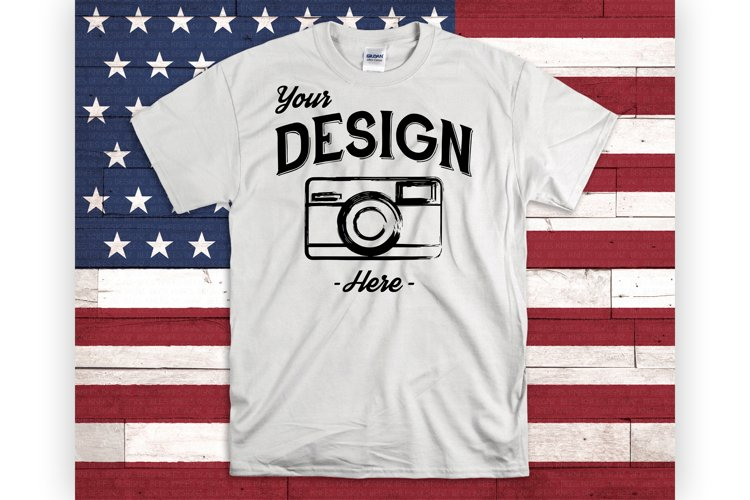 July 4th Mockup White Shirt USA Mock Up American Flag example image 1