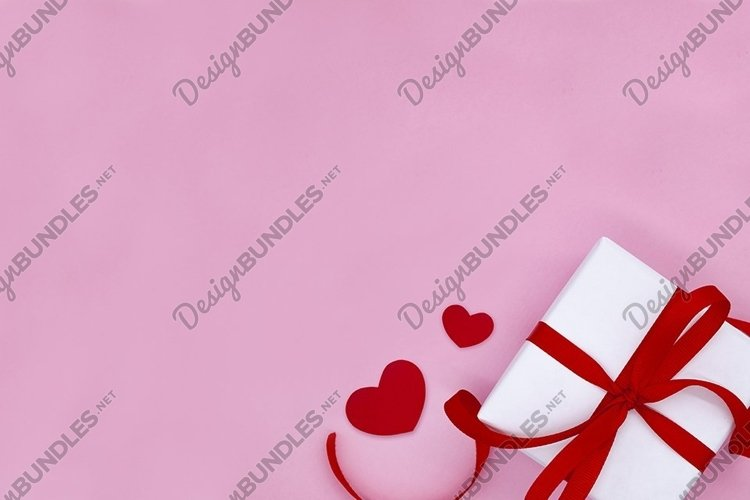 Mock up Valentine's day. Gift box. Flat lay. Love mockup. example image 1