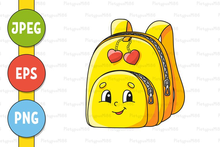 Yellow schoolbag. Back to school theme. Cute character.