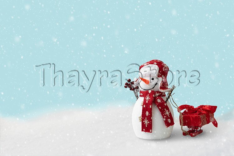 Happy snowman sledding gift box on sleigh in winter example image 1