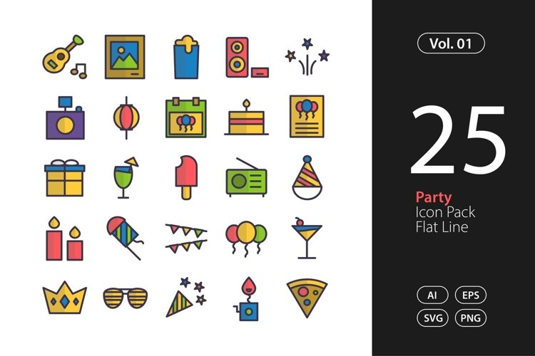 Party Icon Flat Line SVG, EPS, PNG