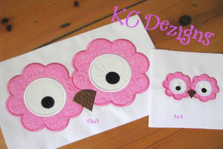 Owl Eyes and Nose Applique Embroidery Design