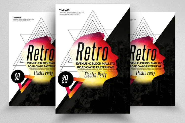 Retro Party Flyer Template example image 1