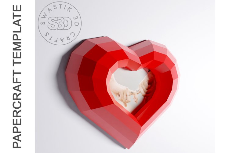 PDF Template of heart with image /Gift heart Papercraft example image 1