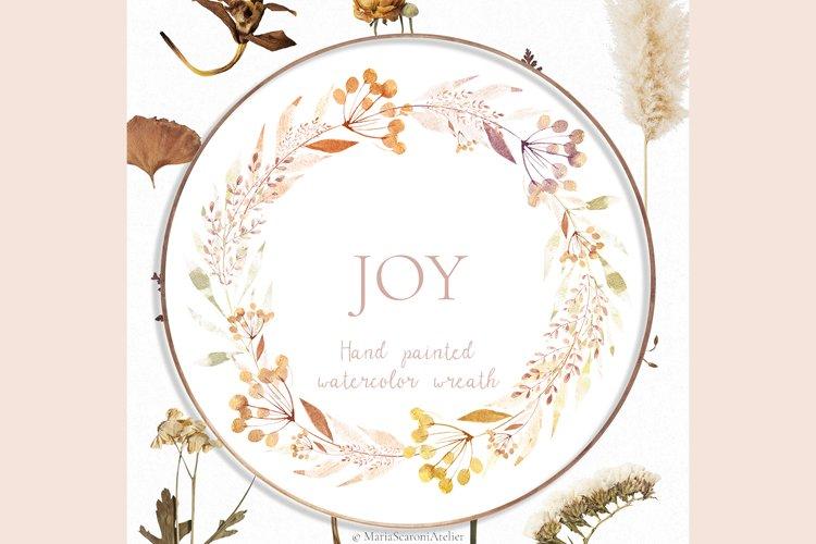 Watercolor Floral Wreath - JOY