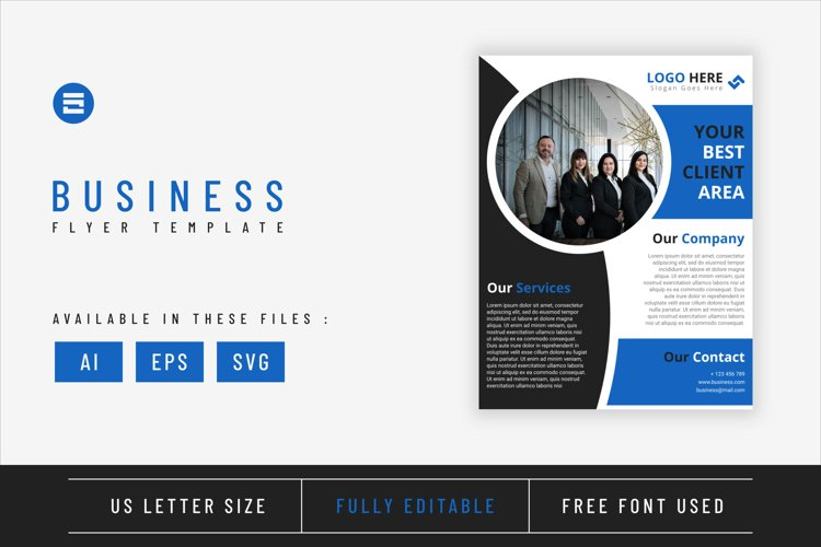 Business flyer template with blue geometry shapes design example image 1