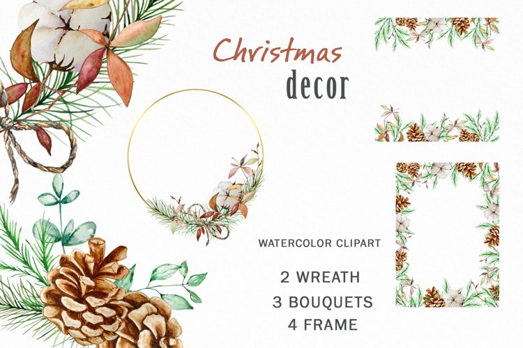 Christmas Greenery Decor Watercolor Wreath Clipart PNG example image 1