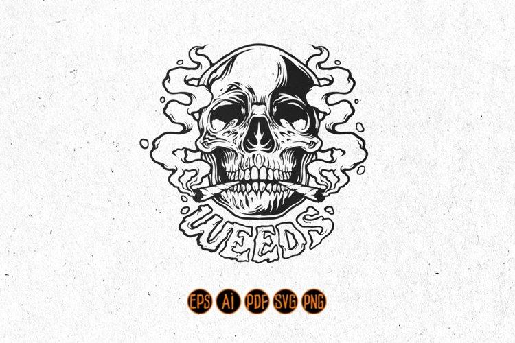 Silhouette Weed Skull Smoke Illustrations
