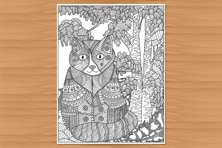 Cat coloring page, adult coloring, hand-drawn example image 1