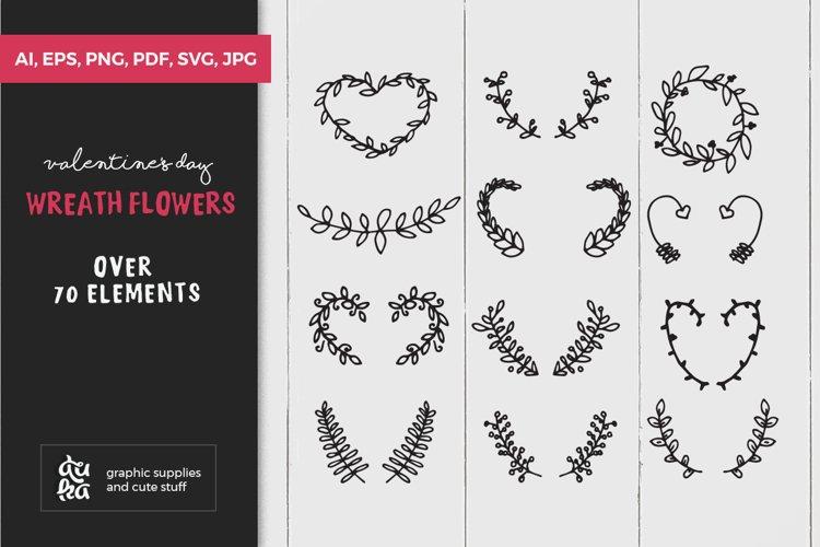 Valentine SVG Cut Files - Valentines Day Wreath & Flowers