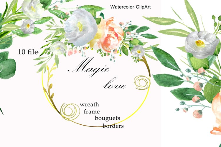 Watercolor white peach flower clip art example image 1