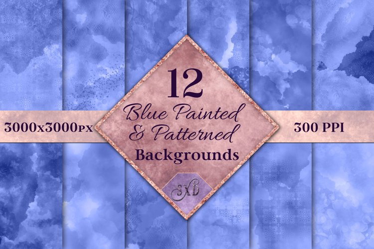 Blue Painted and Patterned Backgrounds - 12 Image Textures example image 1