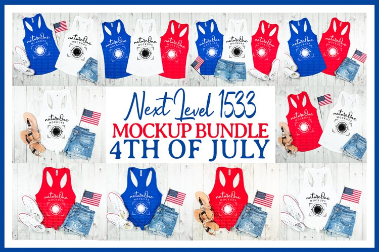 Next Level 1533 4th of July Mock Up Bundle Tank Top Flat Lay example image 1