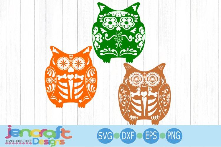 Sugar Skull Owl SVG Design Bundle SVG, EPS, DXF