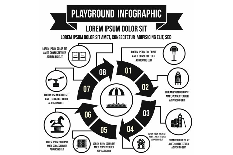 Playground infographic elements, simple style example image 1