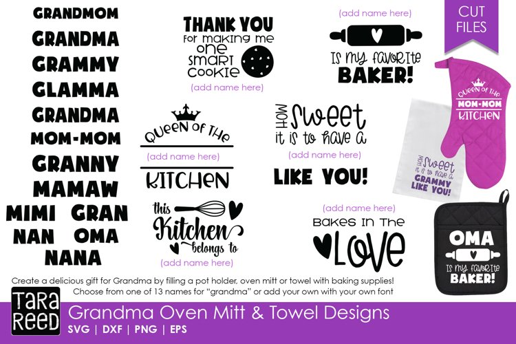 Grandma Oven Mitts & Towel Designs - Family SVG Files example image 1