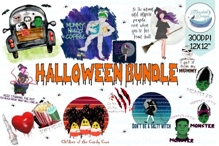 Halloween Design Bundle for sublimation, print and cut, png example image 1