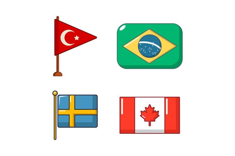Country flag icon set, cartoon style example image 1