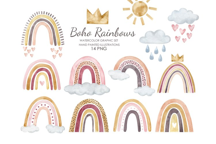 Watercolor boho rainbow clipart. Pastel rainbow illustration