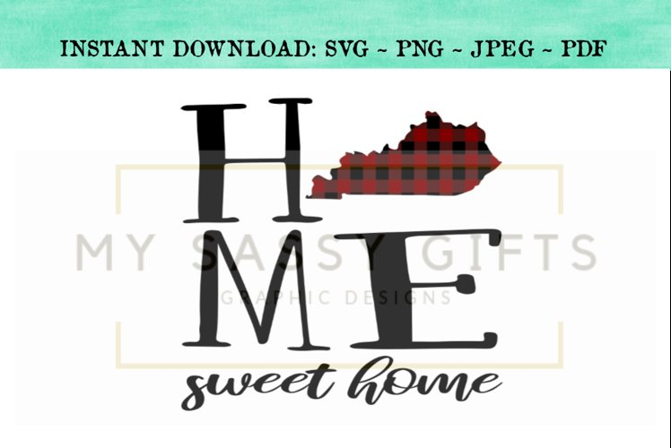 Kentucky State Home Sweet Home SVG Design example image 1